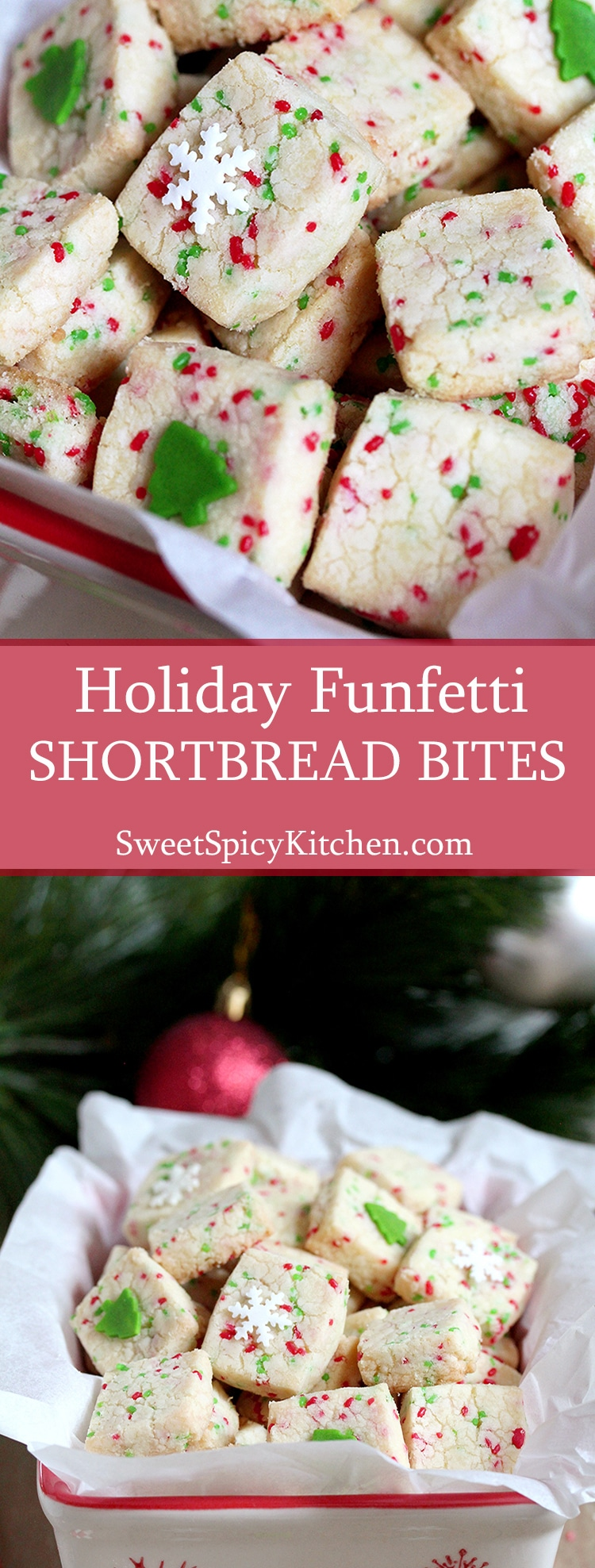 Holiday Funfetti Shortbread Bites – quick & easy, sweet, crunchy bites are perfect for holidays.