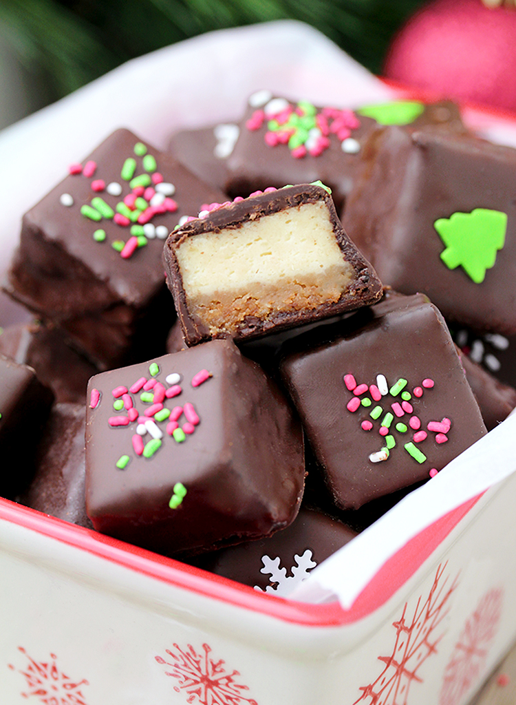 Chocolate Covered Cheesecake Bites made of graham cracker base and a cheesecake layer, covered with chocolate are so delicious. Yummy…