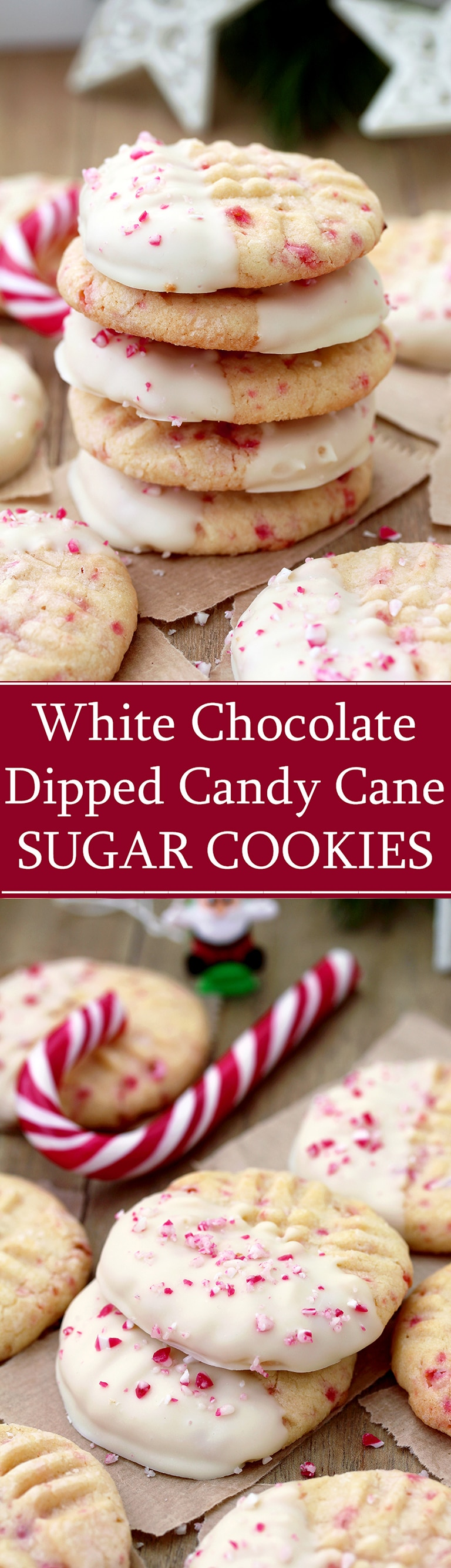 White Chocolate Dipped Candy Cane Sugar Cookies – delicious sugar cookies, just perfect for Christmas. They are easy to make and melt in your mouth