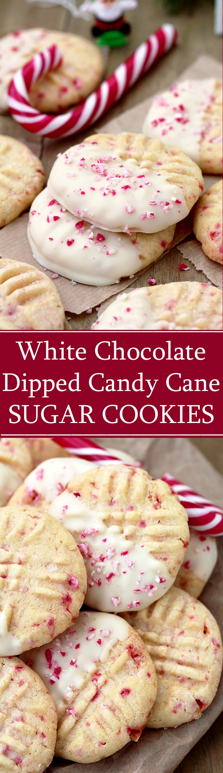 White Chocolate Dipped Candy Cane Sugar Cookies – delicious sugar cookies, just perfect for Christmas. They are easy to make and melt in your mouth. HO HO HO.. Christmas is coming and that makes me so happy.