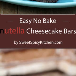 Easy No Bake Nutella Cheesecake Bars – Quick and perfectly creamy cream cheese and Nutella dessert, with Oreo base and chocolate ganache
