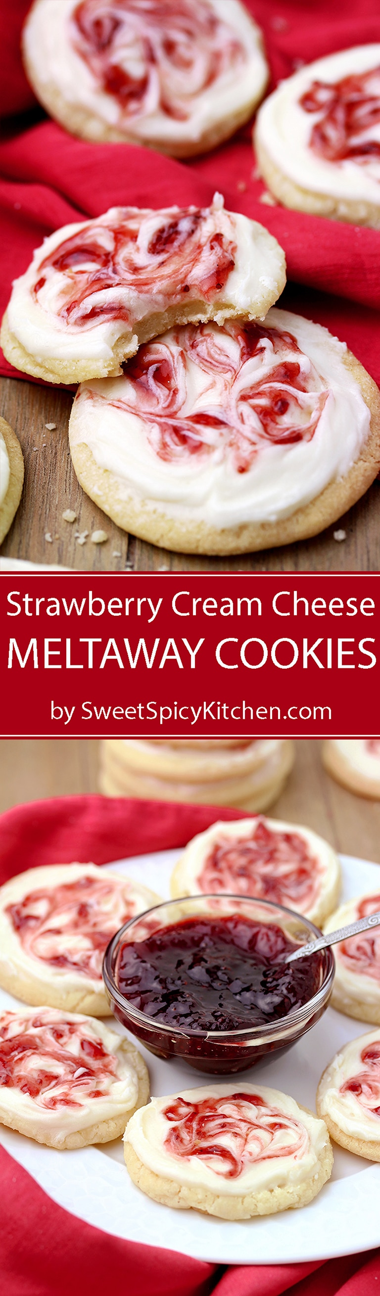 These Strawberry Cream Cheese Meltaway Cookies topped with cream cheese frosting and swirled with strawberry jam, simply melts in your mouth