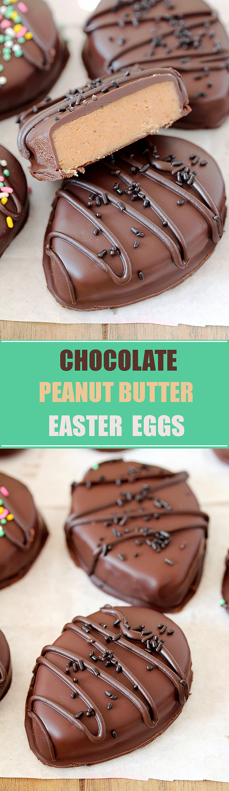 Chocolate Peanut Butter Eggs – easy homemade egg – shaped candies, made of peanut butter and covered with chocolate, just perfect for Easter.