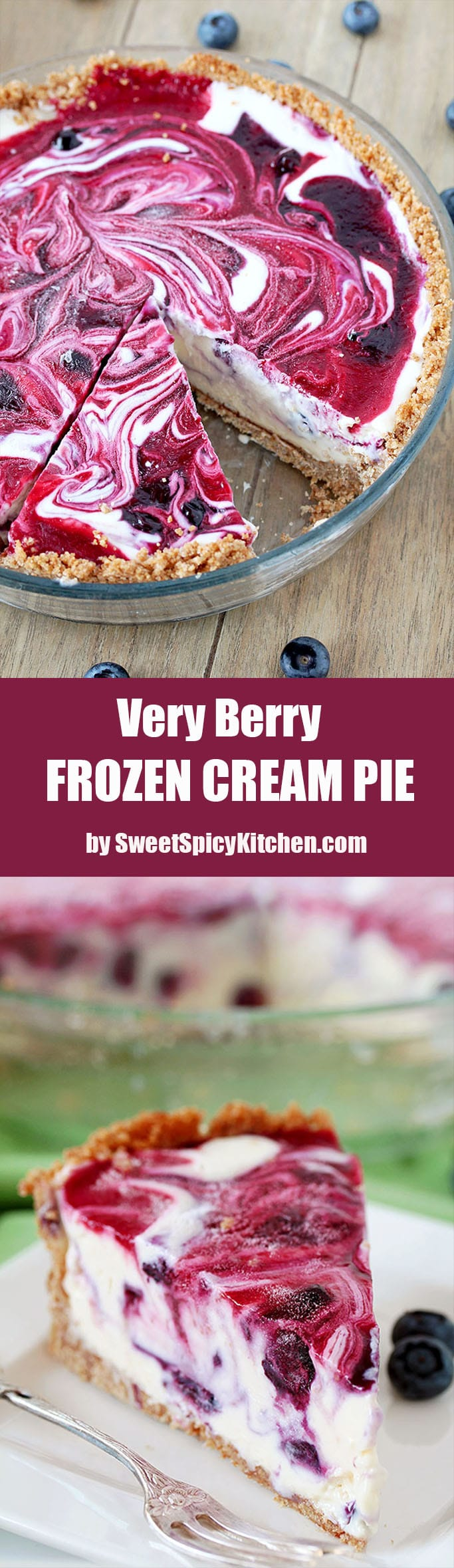 Very Berry Frozen Cream Pie is a dessert with fresh season blueberries and raspberries, just perfect refreshment for hot summer days. If you like ice cream, especially fruit, you will love this pie. This is one of my favorite summer desserts. Graham cracker pie crust, frozen creamy filling, swirls with homemade blueberry and raspberry sauce… Pure perfection, if you ask me.