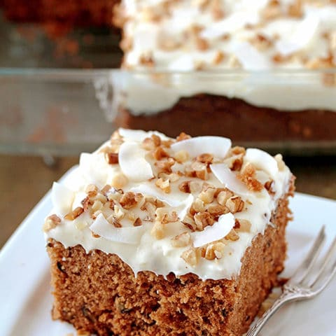 Preacher Cake – easy, super tasty cake with rich, tropical taste made of whipped cream, cheese frosting and topped with chopped walnuts and coconut chips. This harmony of flavors is made for true pleasure. Pineapple, coconut and walnut combination in this cake is perfect and gives it a special taste.