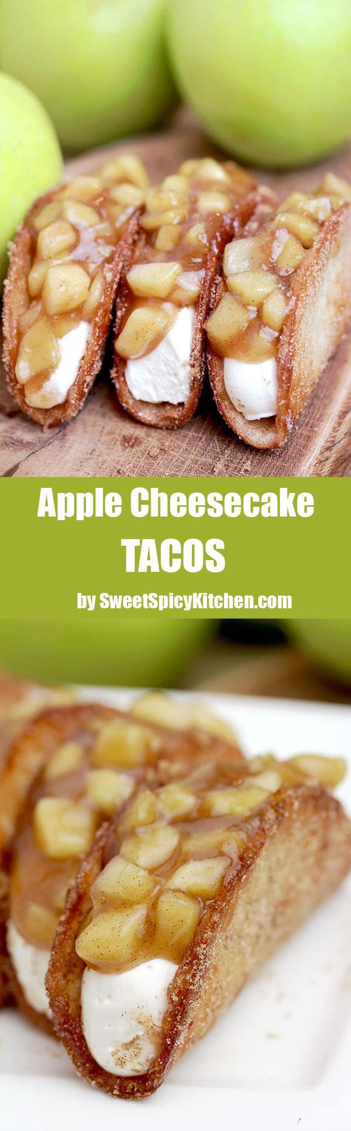 Apple Cheesecake Tacos – crunchy cinnamon sugar tortilla shells, filled with cheesecake filling and covered with homemade apple pie filling are simply perfect.