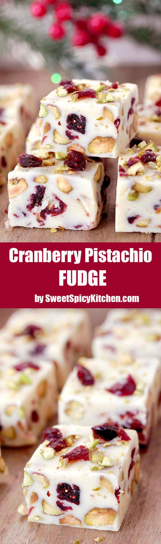This quick and easy Cranberry Pistachio Fudge made of white chocolate, sweet condensed milk, dried cranberries and pistachios are just perfect for holidays like Thanksgiving, Christmas, New Year´s Eve…