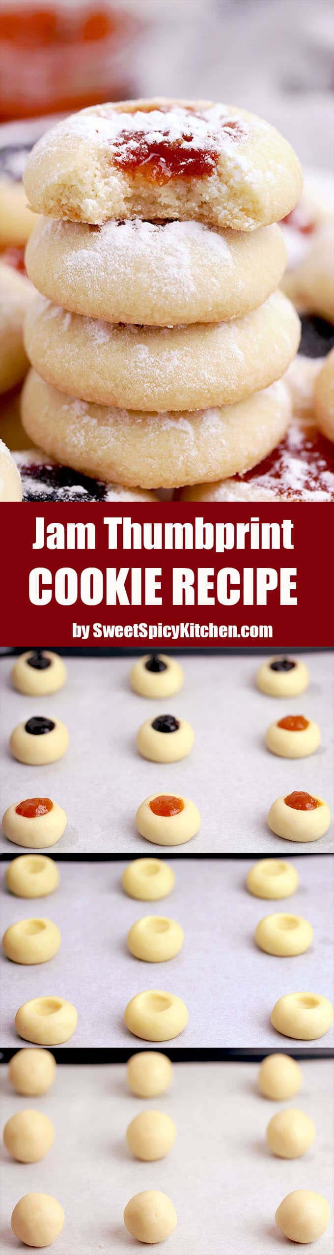 Jam Thumbprint Cookie Recipe – these quick and easy, simple, old – fashioned thumbprint cookies, that are made from a few simple ingredients and have jam inside, are the Christmas cookies that mustn't be forgotten
