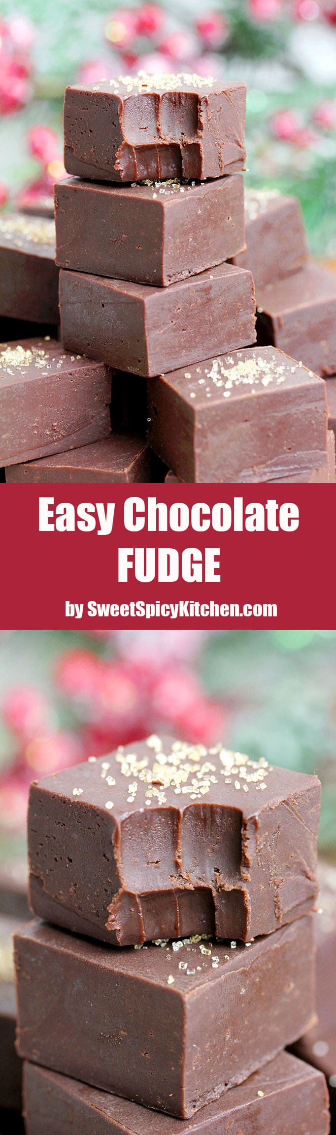 Easy Chocolate Fudge Recipe – this creamy chocolate fudge that is made of only four ingredients in 10 minutes time is a perfect holiday treat