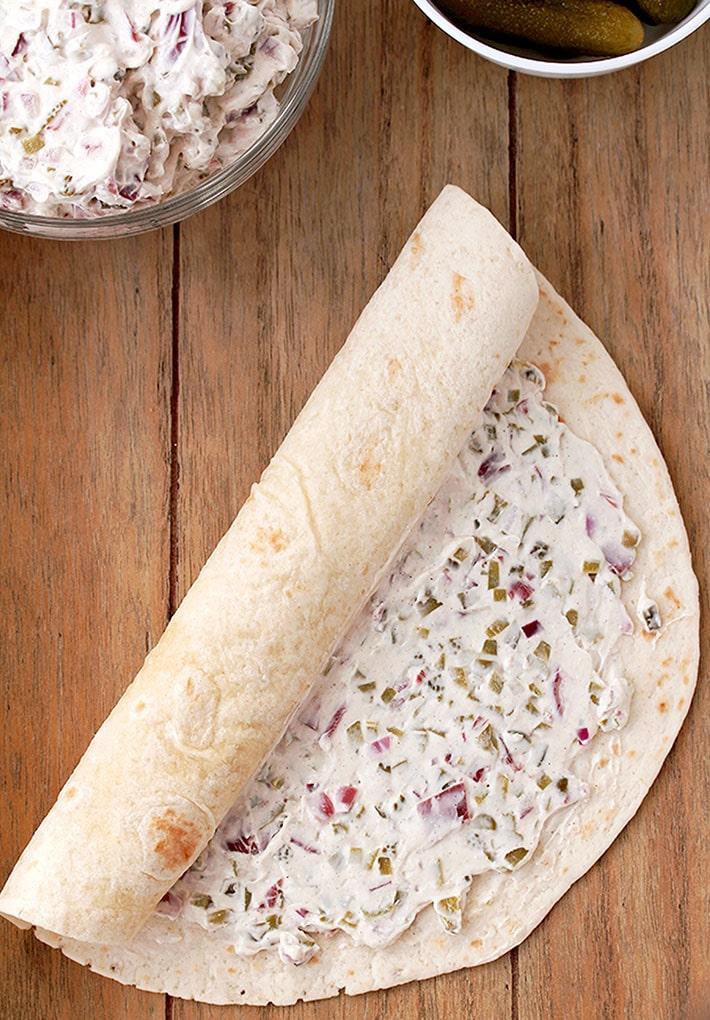 Dill Pickle Tortilla Roll Ups – these party appetizers are filled with cream cheese, sour cream, light mayo, dill pickles, dry beef, onion, ground black pepper and garlic powder, make a perfect choice for Game Day or any other party or holiday.