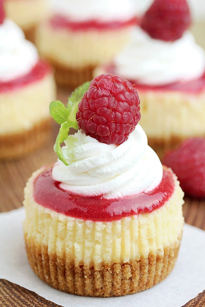 These Raspberry Mini Cheesecakes with crunchy layer made of graham crackers rich cheesecake filling and raspberry topping, which are topped with whipped cream and fresh raspberries are very tasty and easy to prepare.