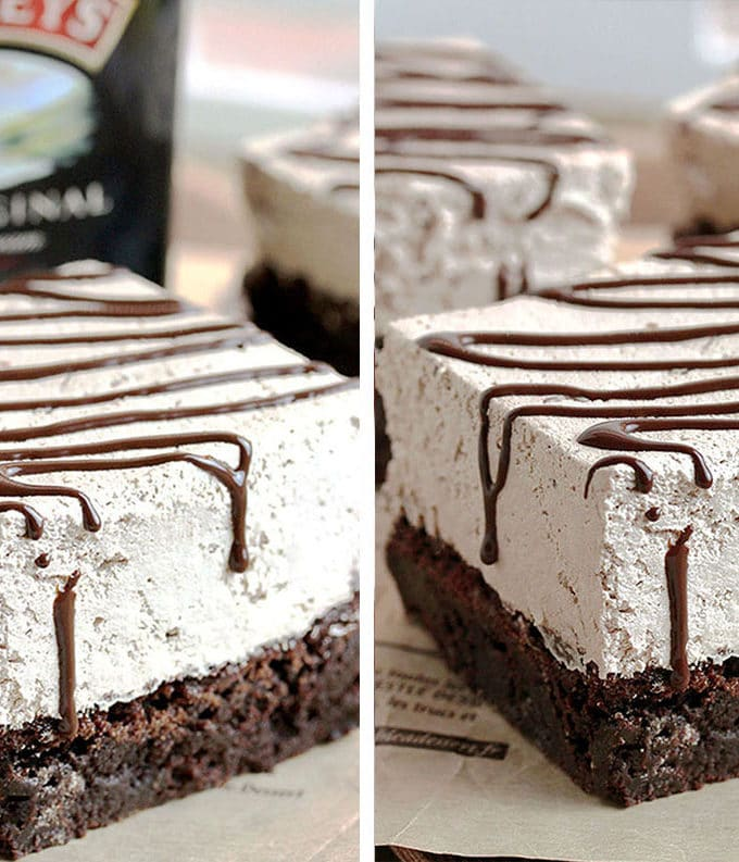 Baileys Chocolate Mousse Brownies have a brownie layer as a base that is followed by a layer of Baileys Chocolate Mousse and it's all in one dessert. It is very delicious, easy to make and it's perfect for St Patrick's Day.