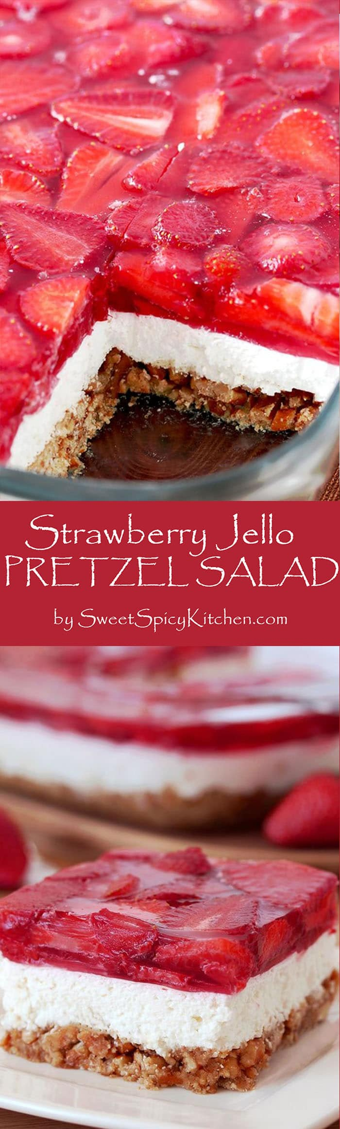 Strawberry Jello Pretzel Salad  is a very tasty, old fashioned dessert that is so easy to prepare and that everyone loves.  It consists of three different layers. The first one is made of crushed pretzels, sugar and melted butter and it´s baked for 10 minutes. Then, the second layer made of cream cheese, sugar and cool whip comes. For the third layer you will need strawberries, strawberry jello and water.