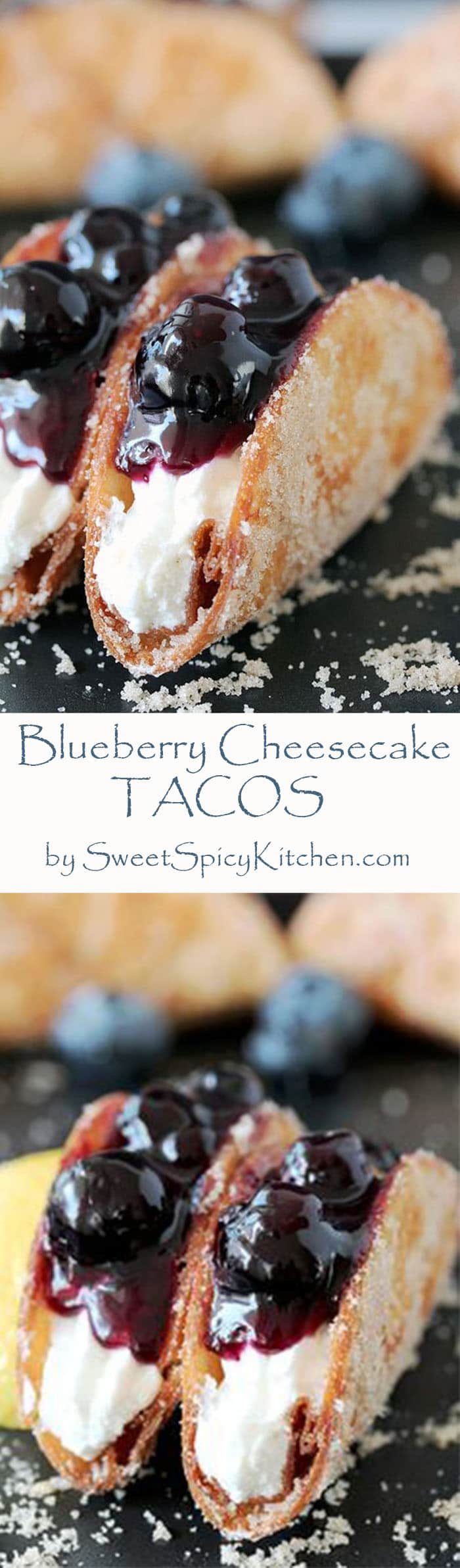 Blueberry Cheesecake Tacos – this is a recipe for very tasty dessert tacos. If you ask me, crunchy tortilla shells, filled with cheesecake filling and topped with homemade blueberry sauce make a perfect dessert